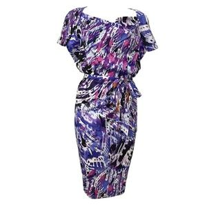 ETCETERA Multi-Color Slouch Belted Shift Dress